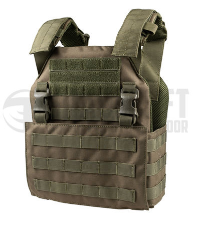 8 Fields Buckle Up Assault Plate Carrier with SAPI Plates and detachable front panel, OD