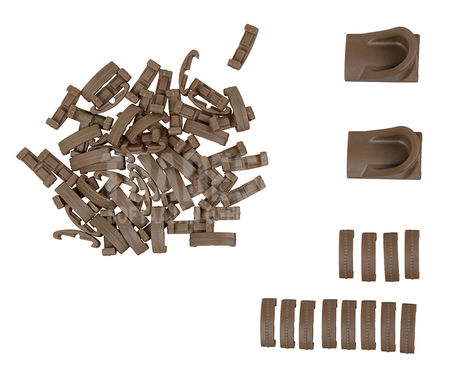 ACM RIS Rail Cover Parts with Stoppers, Tan, 72pcs
