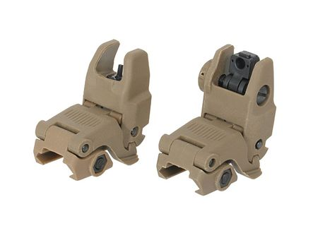 CS Tactical Front and Rear Sights Gen. 2, Dark Earth (Modular Back-Up Sight)