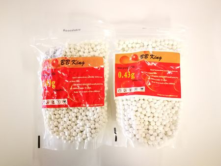 BB King 0.40g and 0.43g Plastic BBs 2000 Rounds, White (Swollen)