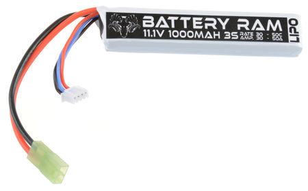Battery Ram 11.1V 1000mAh (30/50C) LiPo Stick Type Battery, Tamiya Mini Connector