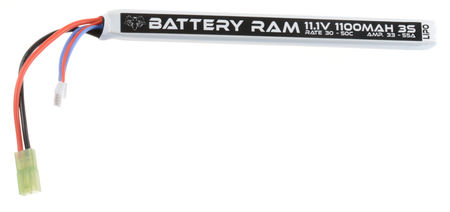 Battery Ram 11.1V 1100mAh (30/50C) LiPo Stick Type Battery, Tamiya Mini Connector