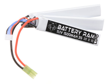 Battery Ram 11.1V 1500mAh (30/50C) LiPo Crane Type Battery, Tamiya Mini Connector