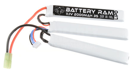 Battery Ram 11.1V 2000mAh (30/50C) LiPo Crane Type Battery, Tamiya Mini Connector