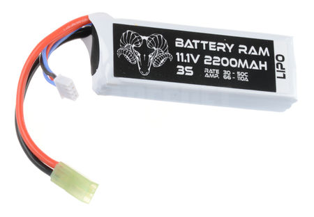 Battery Ram 11.1V 2200mAh (30/50C) LiPo Mini Type Battery, Tamiya Mini Connector