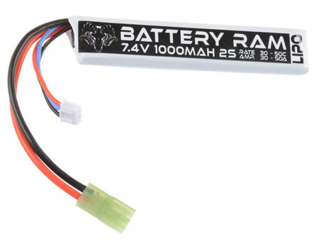 Battery Ram 7.4V 1000mAh (30/50C) LiPo Stick Type Battery, Tamiya Mini Connector