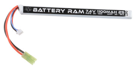 Battery Ram 7.4V 1100mAh (30/50C) LiPo Stick Type Battery, Tamiya Mini Connector