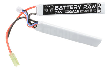Battery Ram 7.4V 1500mAh (30/50C) LiPo Crane Type Battery, Tamiya Mini Connector