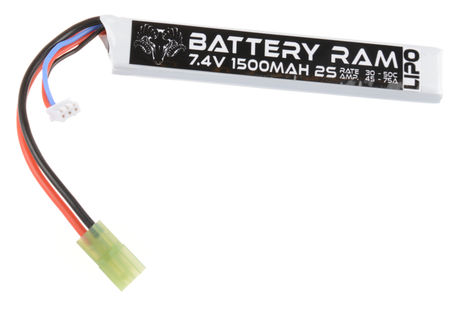 Battery Ram 7.4V 1500mAh (30/50C) LiPo Stick Type Battery, Tamiya Mini Connector