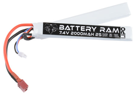 Battery Ram 7.4V 2000mAh (30/50C) LiPo Crane Type Battery, Deans Connector