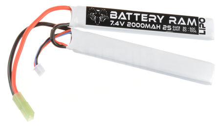 Battery Ram 7.4V 2000mAh (30/50C) LiPo Crane Type Battery, Tamiya Mini Connector