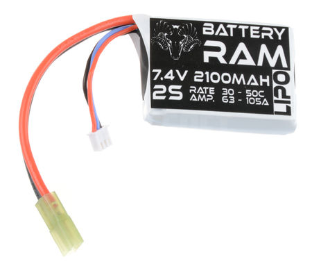 Battery Ram 7.4V 2100mAh (30/50C) LiPo PEQ Type Battery, Tamiya Mini Connector