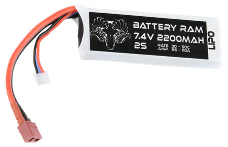 Battery Ram 7.4V 2200mAh (30/50C) LiPo Mini Type Battery, Deans Connector