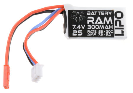 Battery Ram 7.4V 300mAh (25/30C) LiPo Micro Type Battery, JST Mini Connector