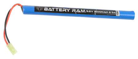 Battery Ram 9.6V 1600mAh NiMH Stick Type Battery, Tamiya Mini Connector