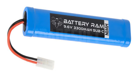 Battery Ram 9.6V 3300mAh NiMH Large Type Battery, Tamiya Large Connector