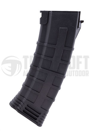 CYMA Reinforced Polymer Mid-Cap Magazine for AK74 Series, Black (130 Rounds)