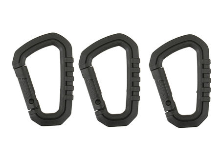FMA Nylon Carabiner, Black (3 pieces)