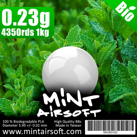 Mint Airsoft 0.23g Biodegradable BBs 4350 Rounds, White