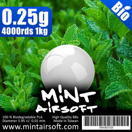 Mint Airsoft 0.25g Biodegradable BBs 4000 Rounds, White