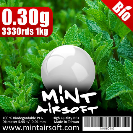 Mint Airsoft 0.30g Biodegradable BBs 3330 Rounds, White