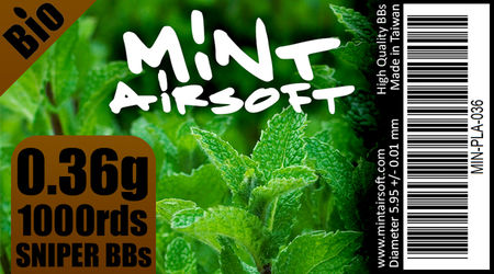 Mint Airsoft 0.36g Sniper Biodegradable BBs 1000 Rounds, White