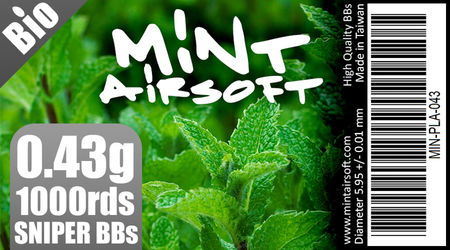 Mint Airsoft 0.43g Sniper Biodegradable BBs 1000 Rounds, White