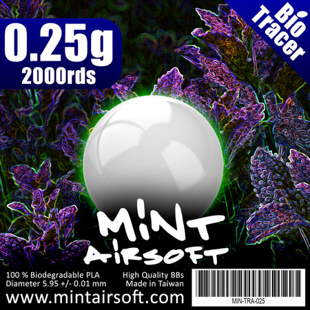 Mint Airsoft 0.25g Biodegradable Tracer BBs 2000 Rounds, Green