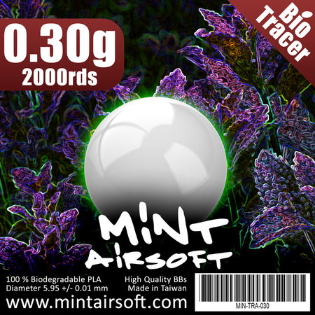 Mint Airsoft 0.30g Biodegradable Tracer BBs 2000 Rounds, Green