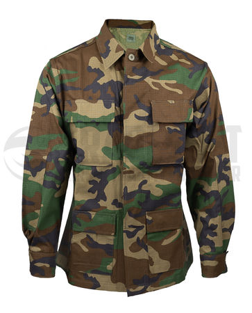 Mil-Tec BDU Ripstop Military Uniform Jacket, Woodland