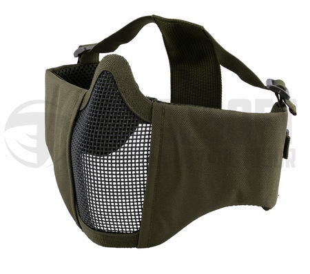 P&J Padded Metal Mesh Lower Face Mask with Ear Protection, OD