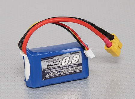 Turnigy 7.4V 800mAh (40/50C) LiPo Micro Type Battery, XT60 Connector