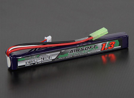 Turnigy Nano-tech 11.1V 1300mAh (25/50C) LiPo Stick Type Battery, Tamiya Mini Connector