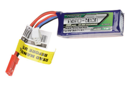 Turnigy 7.4V 300mAh (45/90C) LiPo Micro Type Battery, JST Mini Connector
