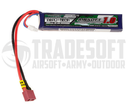 Turnigy Nano-tech 7.4V 1200mAh (25/50C) LiPo Stick Type Battery, Deans Connector