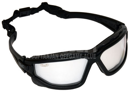 Valken Zulu Tactical Safety Goggles with Strap and Arms, Clear Double Lens